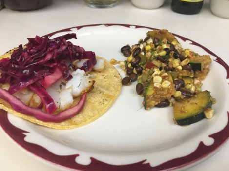 Fish Tacos and quinoa salad