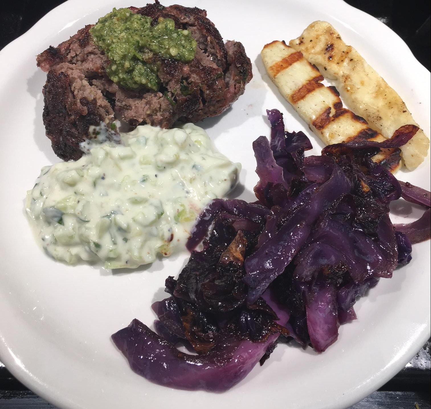 ground lamb kabob tzaziki cabbage and grilled halloumi cheese