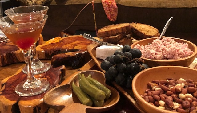 cheese board with manhattans