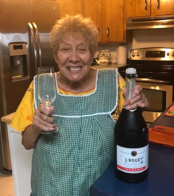 Mom with sparkling wine